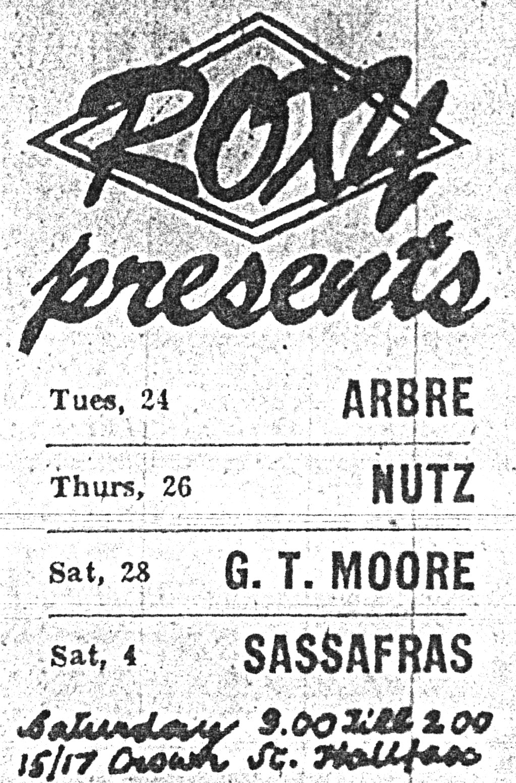 Advert for Clarence's - Arbre, Nutz, GT Moore, Sassafras